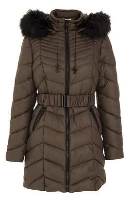 Quiz Khaki Faux Fur Hooded Jacket