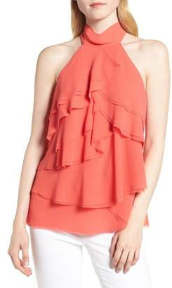 Trouve Raw Edge Ruffle Chiffon Blouse