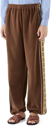 Gucci Interlocking-G Stripe Velour Jogger Pants
