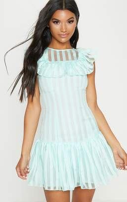 PrettyLittleThing Lemon Striped Mesh Frill Hem Bodycon Dress