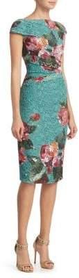 Monique Lhuillier Floral-Print Sheath Dress