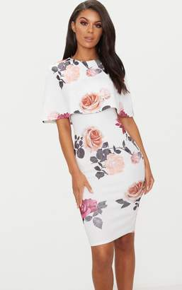 PrettyLittleThing Dusty Blue Floral Print Cape Detail Midi Dress