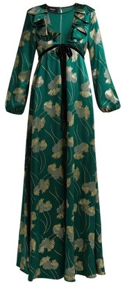 Rochas - Floral Silk Blend Jacquard Gown - Womens - Green Multi