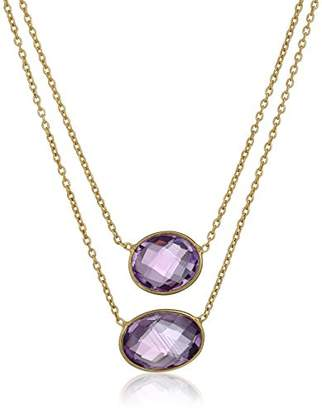 Two Row Amethyst Gold Over Silver Bezel with Gold Over Silver Chain Necklace