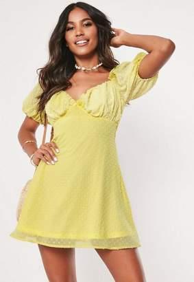 114e3c58a5e Missguided Yellow Dobby Milkmaid Skater Mini Dress