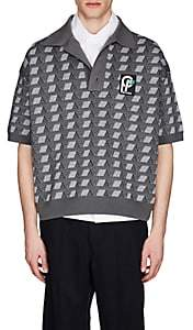 Prada Men's Geometric-Pattern Jacquard Oversized Polo Shirt - Light Gray