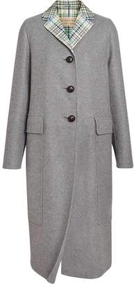 Burberry Check Collar Cashmere Coat