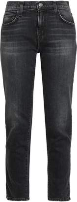 Current/Elliott The Fling Distressed Mid-rise Slim-leg Jeans