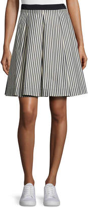 Moncler Striped Pleated A-Line Skirt, Navy