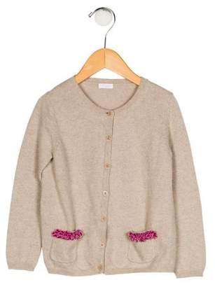 Il Gufo Girls' Velvet-Trimmed Knit Cardigan