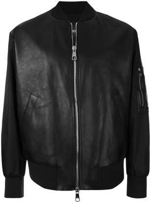 Neil Barrett leather panel bomber jacket