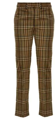 Toga Mid Rise Checked Wool Trousers - Womens - Brown Multi