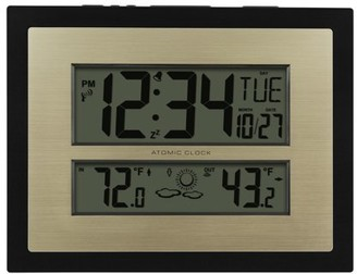 Better Homes & Gardens Better Homes and Gardens Atomic Digital Wall Clock with Forecast, Black