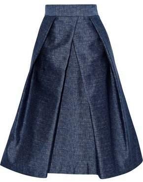 Milly Clarisa Pleated Satin-Twill Skirt