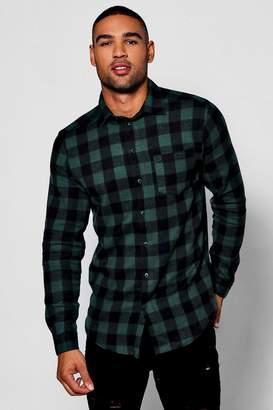 boohoo Green Buffalo Check Long Sleeve Shirt