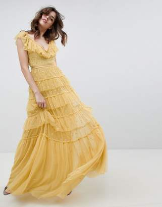 Needle & Thread layered maxi dress with ruffle neck detail in sunflower