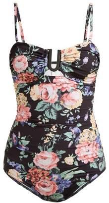 Zimmermann Allia Floral Print Swimsuit - Womens - Black