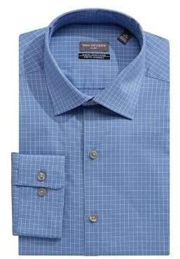Van Heusen Grid Print Long Sleeve Slim-Fit Dress Shirt
