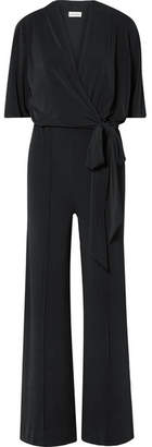 By Malene Birger Zhou Belted Wrap-effect Stretch-jersey Jumpsuit - Black