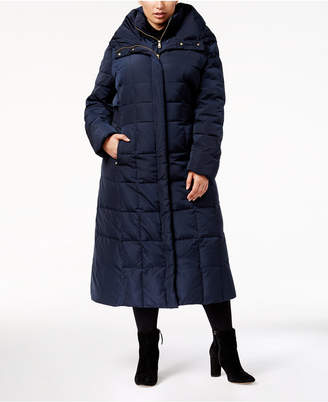 Cole Haan Plus Size Hooded Maxi Puffer Coat
