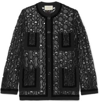 Gucci Velvet And Grosgrain-trimmed Macramé Lace Jacket - Black
