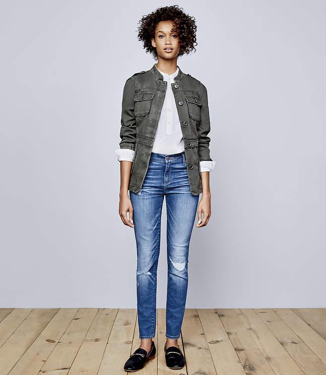 Modern Skinny Jeans in Destructed Indigo Wash