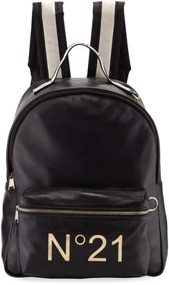 No.21 No. 21 Tall Leather Logo Backpack