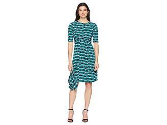 Donna Morgan 3/4 Sleeve Printed Jersey with Waist Gathering