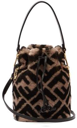 Fendi Mon Tresor Logo Print Shearling Bucket Bag - Womens - Grey Multi