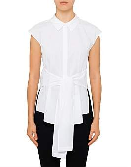 Alexander Wang Shortsleeve Collared Tie Front Shirt