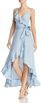 GUESS Chambray Faux-Wrap Maxi Dress