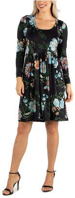 24seven Comfort Apparel Women Floral Knee Length Pleated Long Sleeve Dress