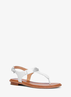 Michael Kors Pebbled Leather Logo Plate Sandal