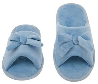 Deluxe Comfort Womens Butterfly Bow Slip-On Memory Foam House Slippers, Size 9-10 - Open Toe - Pamper Your Feet With Cozy Fleece Memory Foam - Durable Non-Marking Ruber Sole - Womens Slippers, Baby Blue