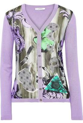 Versace Printed Silk And Cotton-blend Cardigan