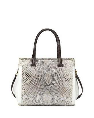 Nancy Gonzalez Medium Python and Crocodile Tote Bag, Gray