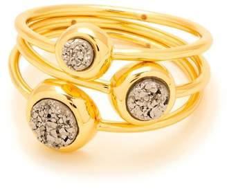 Gorjana Silver Druzy Astoria Ring - Set of 3 - Size 7