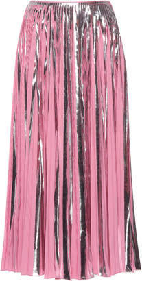 Marni Pleated Metallic Midi Skirt
