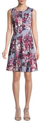 Calvin Klein Poly Floral Fit-&-Flare Dress