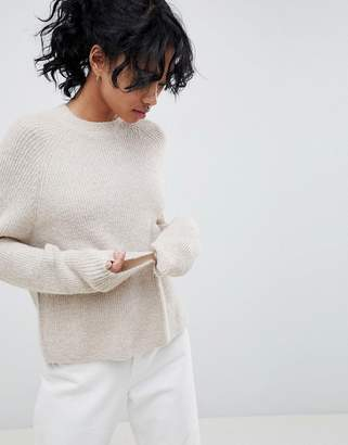 Asos Design Fluffy Jumper In Rib