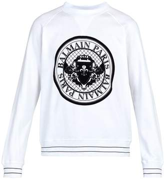 Balmain Coin logo-flocked cotton-jersey sweatshirt