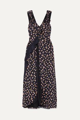 Self-Portrait Twisted Ruffled Floral-print Satin-twill Dress - Black