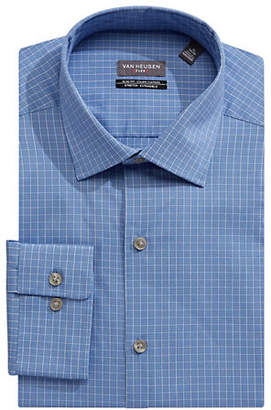 Van Heusen Grid Print Long Sleeve Slim-Fit Dress Shirt