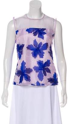 Rebecca Taylor Embroidered Floral Sleeveless Top