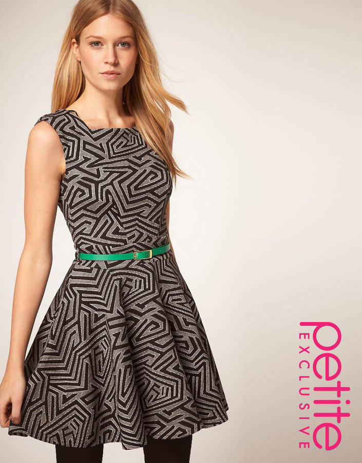 ASOS PETITE Exclusive Fit And Flare Dress In Mono Print