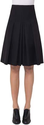 Akris Punto High-Waist Pleated A-Line Skirt, Black