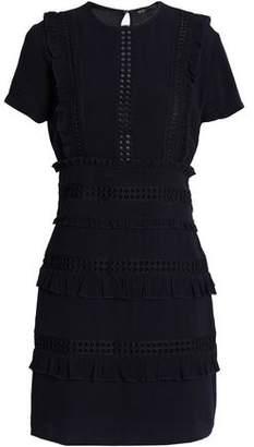 Maje Ruffle-Trimmed Guipure Lace And Crepe Mini Dress