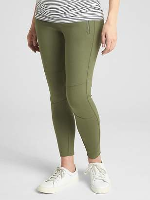 Gap Maternity Full Panel Moto Zip Leggings in Ponte