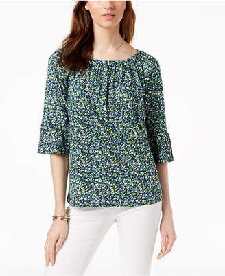 Michael Kors MICHAEL Floral-Print Bell-Sleeve Top, Regular & Petite