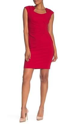 Modern American Designer Solid Ruched Crepe Sheath Dress